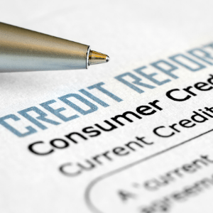 closeup mage of credit report heading
