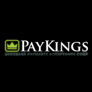 PayKings logo green and white font, with black background