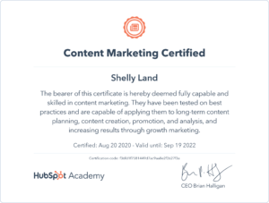 HubSpot certificate balack and orange font